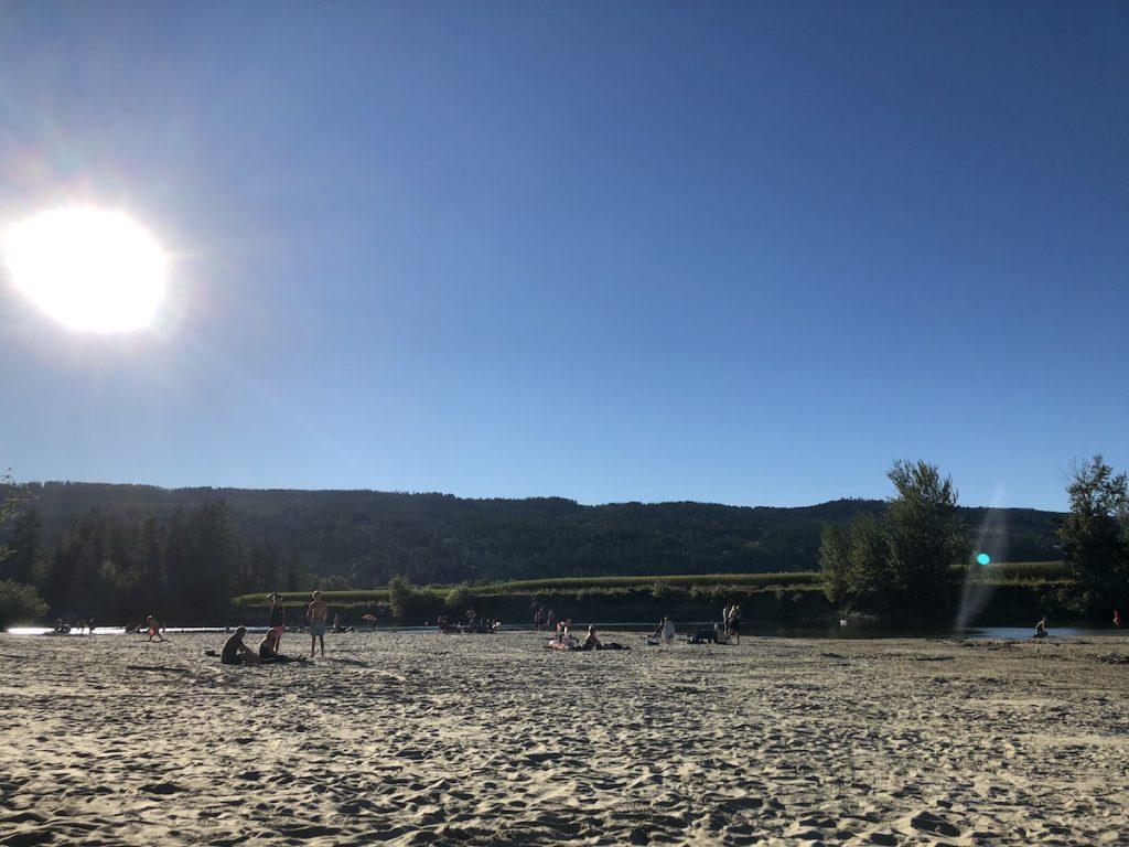 beach at tuey park (waterwheel park) in enderby