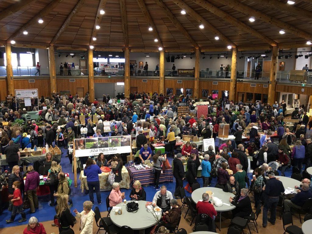 splatsin community center - view inside during market - photo from home for the harvest - mj duford