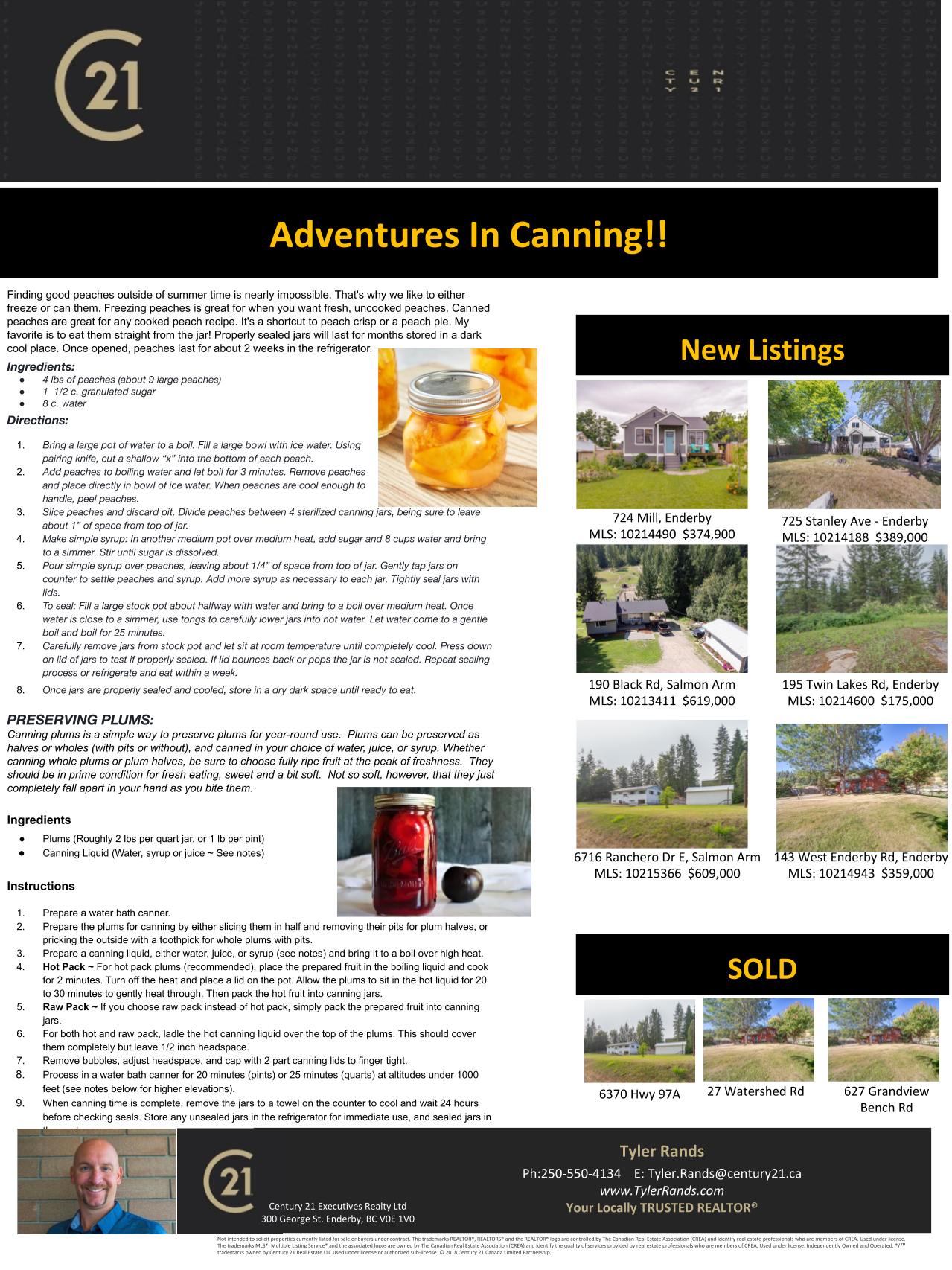Newsletter about canning peaches and plums - Tyler Rands, September 2020